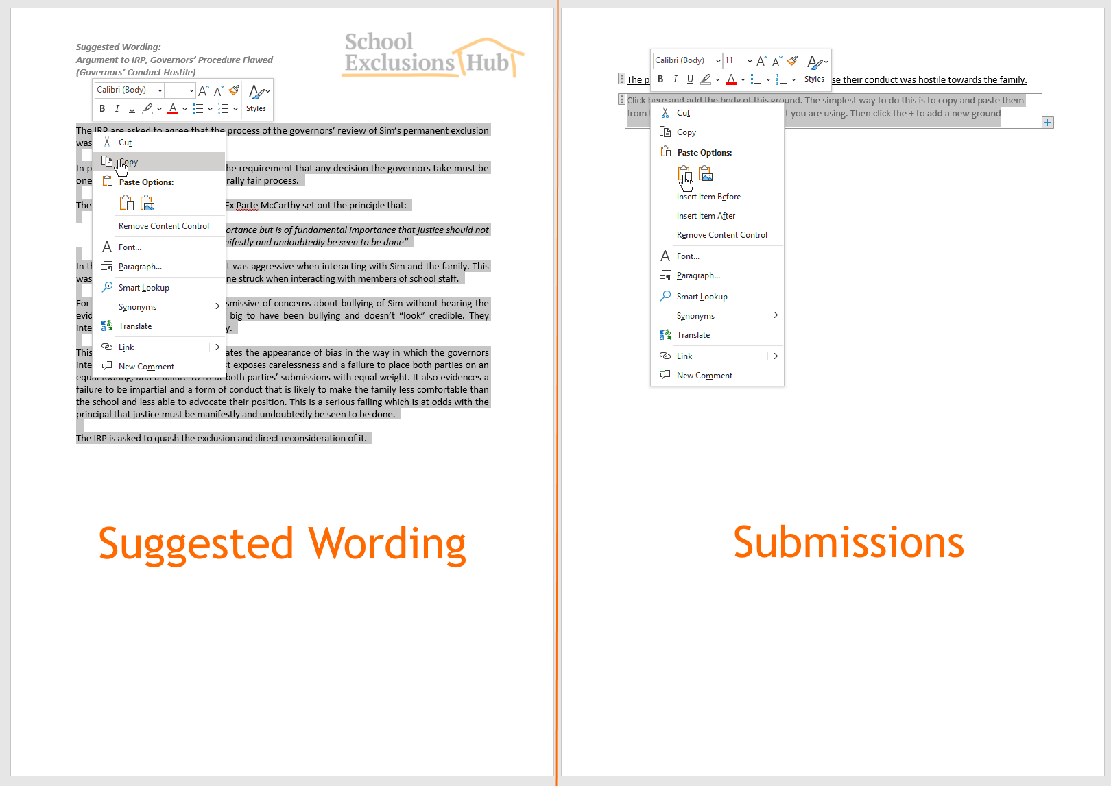 Copy and paste the arguments into the Template Document: Submissions